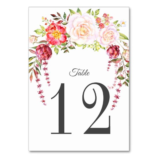 Pink Roses Cascade Wildflowers Greenery Table Number