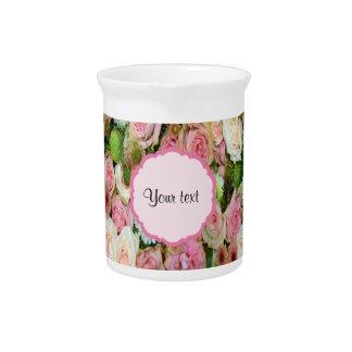 Pink  Roses & Chrysanthemums Beverage Pitcher