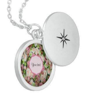 Pink  Roses & Chrysanthemums Locket Necklace