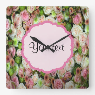 Pink  Roses & Chrysanthemums Square Wall Clock