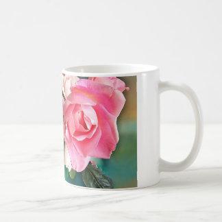 Pink roses classic white coffee mug