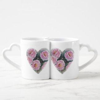 Pink roses coffee mug set