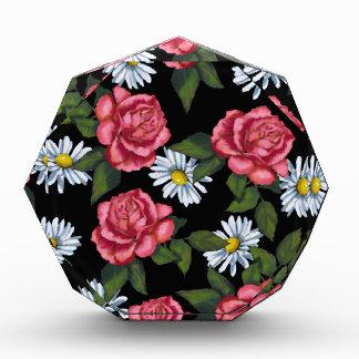 Pink Roses, Daisies: Art on Black Background Acrylic Award