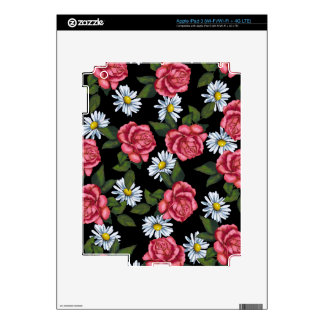 Pink Roses, Daisies: Art on Black Background iPad 3 Decal