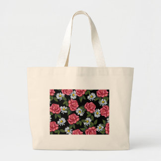 Pink Roses, Daisies: Art on Black Background Large Tote Bag