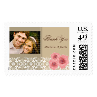 Pink Roses Damask Lace Photo 2 Thank You Stamps