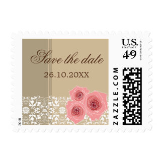Pink Roses Damask Lace Save The Date Custom Stamps