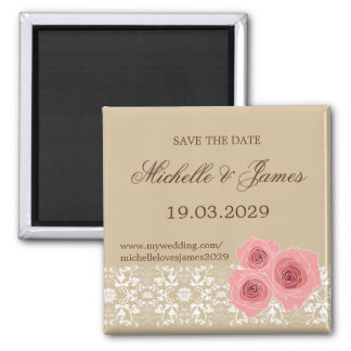 Pink Roses Damask Lace Save The Date Magnet