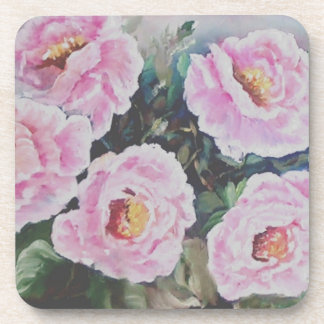 Pink roses drink coaster