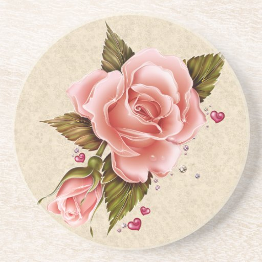 Pink Roses Drink Coasters