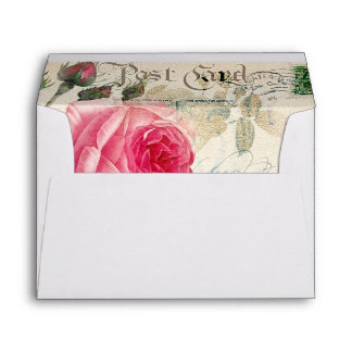 Pink Roses Envelope A7 Greeting Card