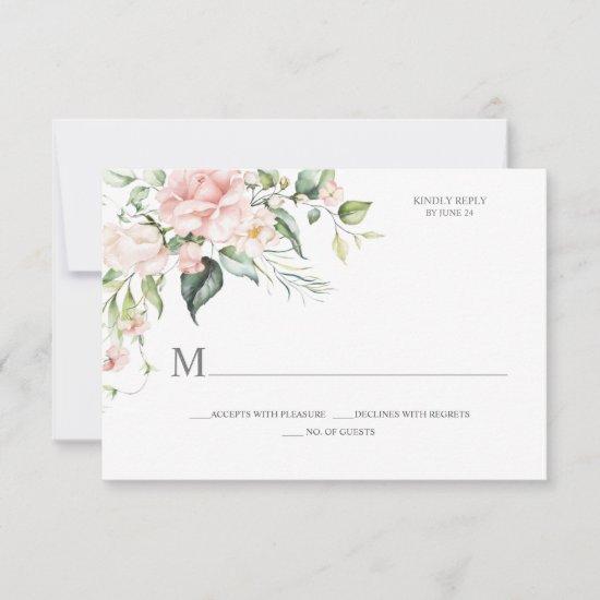 Pink Roses Eucalyptus Botanical RSVP Card