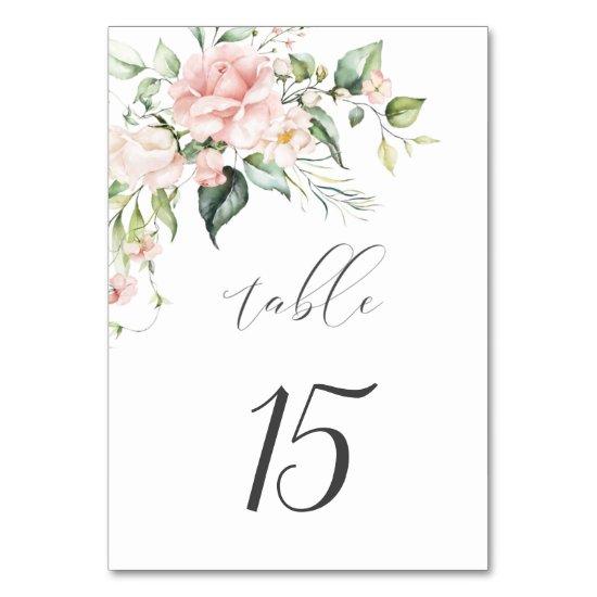 Pink Roses Eucalyptus Botanical Wedding Table Number
