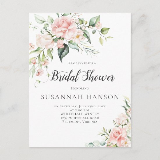 Pink Roses Eucalyptus Greenery Bridal Shower Postcard