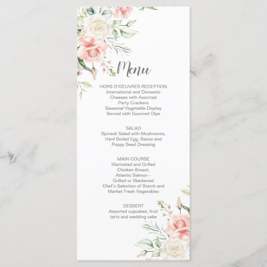 Pink Roses Eucalyptus Greenery Wedding Menu