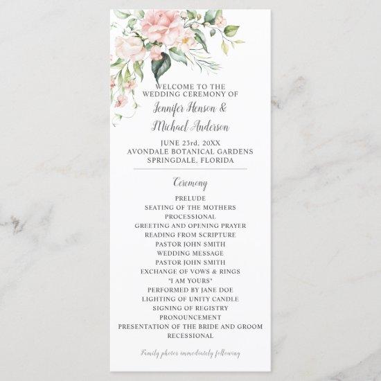 Pink Roses Eucalyptus Greenery Wedding Program