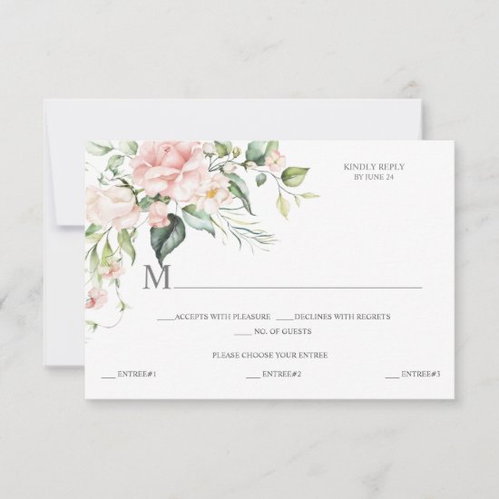 Pink Roses Eucalyptus Meal Selection Pink Back RSVP Card