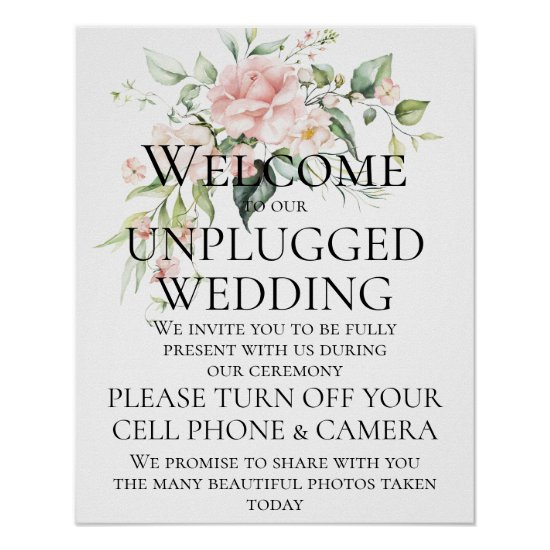 Pink Roses Eucalyptus Unplugged Wedding Ceremony Poster