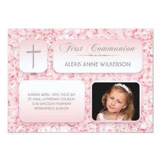 Pink Roses FIrst Communion Photo Card