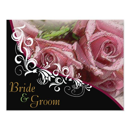 Pink Roses - Flat 2 sided Wedding Invite B