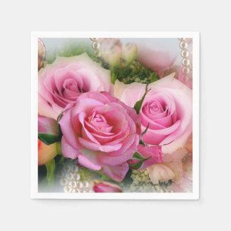 Pink Roses Floral Art Composition Paper Napkin