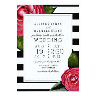 Pink Roses Floral Black + White Stripe Wedding 5x7 Paper Invitation Card