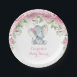 "Pink Roses Floral Elephant Baby Shower 7&quot; Plate<br><div class=""desc"">Gorgeous elephant theme paper plate featuring pink watercolor roses and elegant pink lettering
