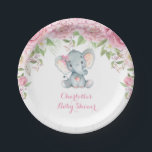 "Pink Roses Floral Elephant Baby Shower 7"" Plate<br><div class=""desc"">Gorgeous elephant theme paper plate featuring pink watercolor roses and elegant pink lettering