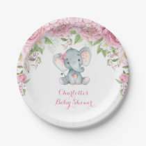 """Pink Roses Floral Elephant Baby Shower 7"""" Plate"""