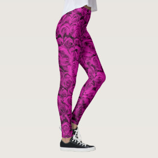 Pink Roses Floral Girly Pattern Trendy Fashionable Leggings