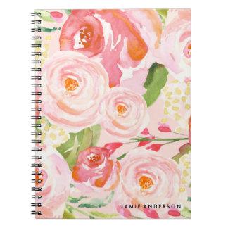 Pink Roses Floral Notebook
