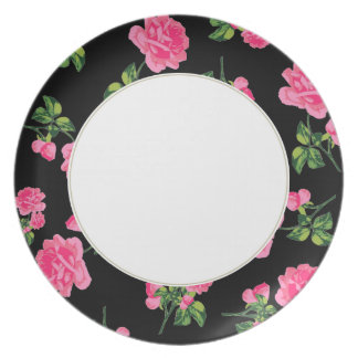 Pink roses Floral pattern on black and white plate