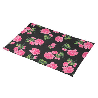 Pink roses floral pattern on black cloth placemat
