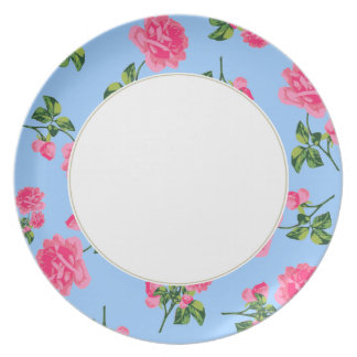 Pink roses Floral pattern on blue and white plate