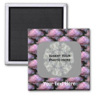 Pink Roses Floral Photo Fridge Magnet