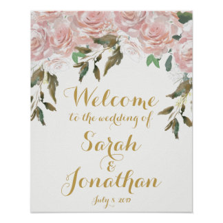 Pink roses floral wedding welcome sign white
