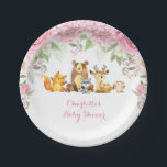 "Pink Roses Floral Woodland Baby Shower 7&quot; Plate<br><div class=""desc"">Gorgeous woodland theme paper plate featuring pink watercolor roses and adorable forest animals