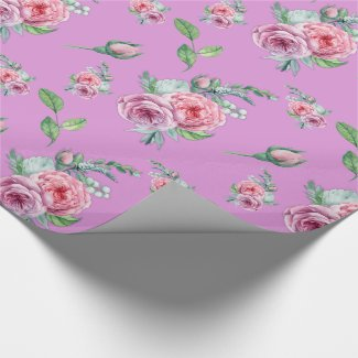 Pink Roses Floral Wrapping Paper