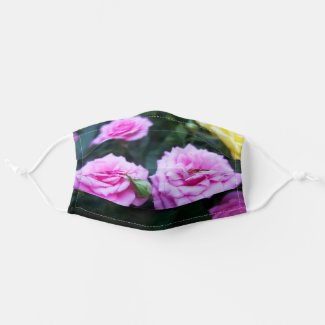 Pink roses flower background Cloth Face Mask