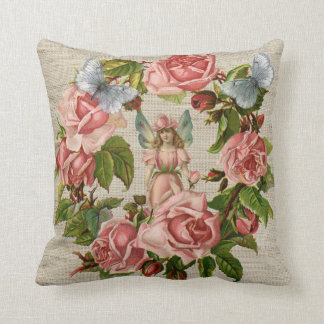 Pink Roses Flower Fairy Ring Cream Burlap Pillow