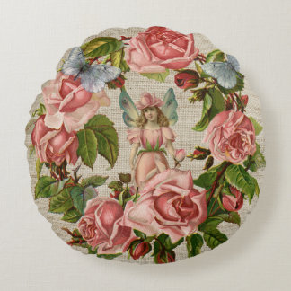 Pink Roses Flower Fairy Ring Cream Burlap Round Pillow