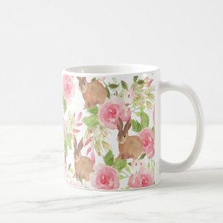 Pink roses flowers brown watercolor bunny rabbit coffee mug