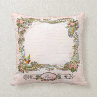 Pink Roses French Writing and Birds Throw Pillows