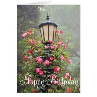 Pink roses garden birthday greeting card