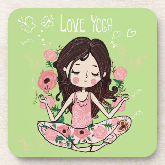 Pink Roses Girl Loves Yoga Coaster