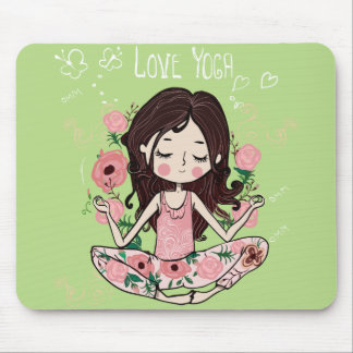 Pink Roses Girl Loves Yoga Mouse Pad