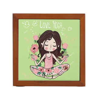 Pink Roses Girl Loves Yoga Pencil/Pen Holder