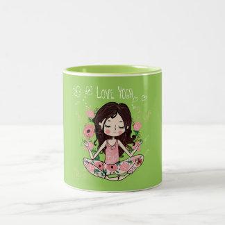 Pink Roses Girl Loves Yoga Two-Tone Coffee Mug