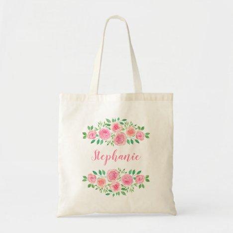 Pink Roses Girl's Name Tote Bag