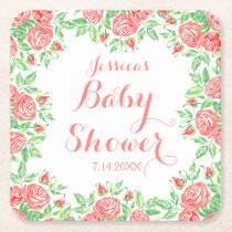 Pink Roses Girly Baby Shower Square Paper Coaster